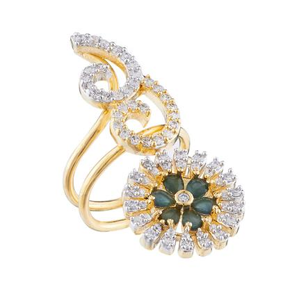 50684 CZ Classic Ring with 2 tone plating