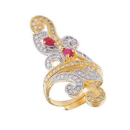 50696 CZ Classic Ring with 2 tone plating