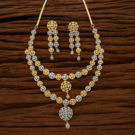 50706 CZ Classic Necklace with 2 tone plating