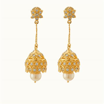 50714 American Diamond Jhumki with gold plating