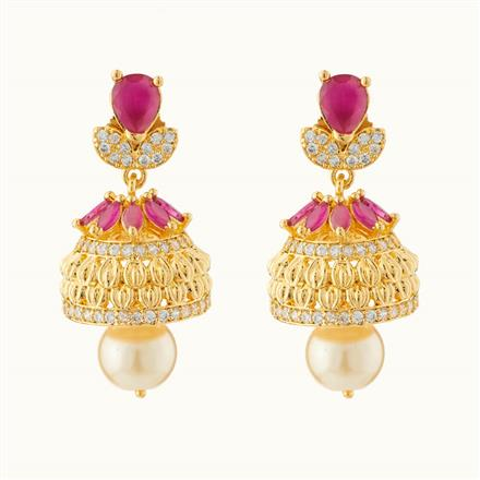 50715 American Diamond Jhumki with gold plating