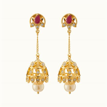 50716 American Diamond Jhumki with gold plating