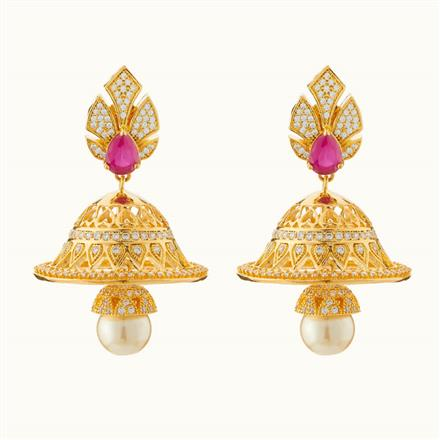50717 American Diamond Jhumki with gold plating