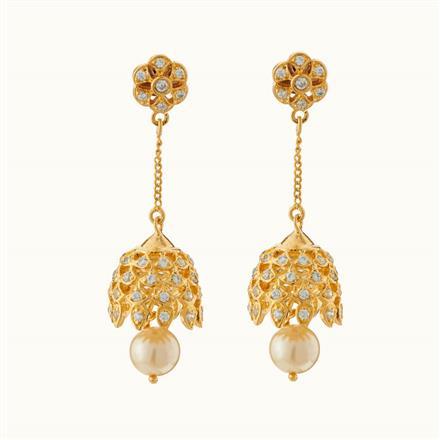 50718 American Diamond Jhumki with gold plating