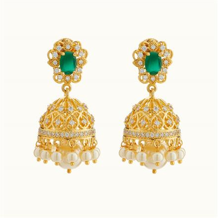 50719 American Diamond Jhumki with gold plating