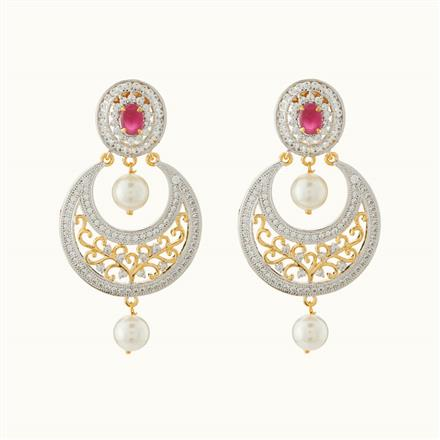 50720 CZ Chand Earring with 2 tone plating