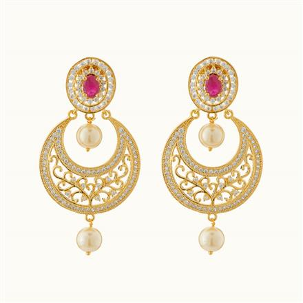 50721 CZ Chand Earring with gold plating