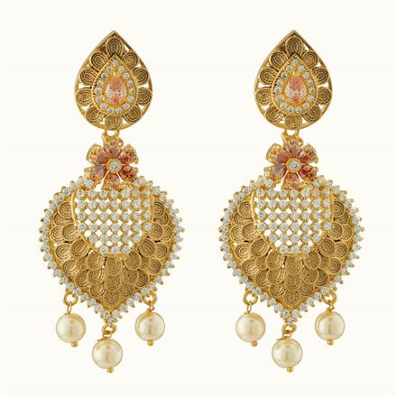 50723 CZ Classic Earring with gold plating