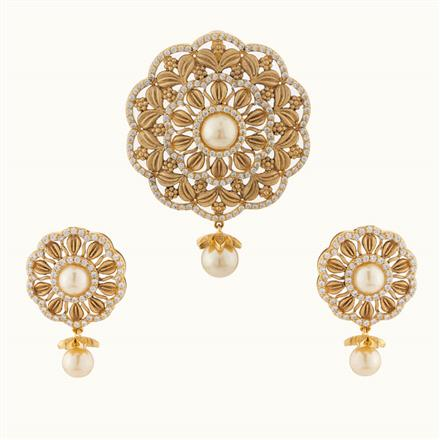 50726 CZ Classic Pendant Set with gold plating