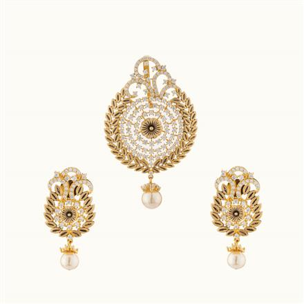 50727 CZ Classic Pendant Set with gold plating