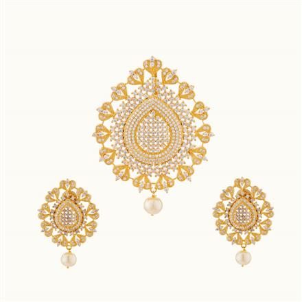 50729 CZ Classic Pendant Set with gold plating