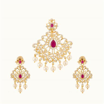 50734 CZ Classic Pendant Set with gold plating