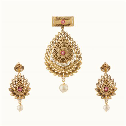 50737 CZ Classic Pendant Set with gold plating