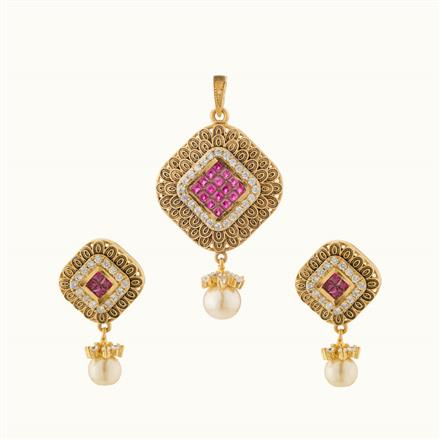 50738 CZ Classic Pendant Set with gold plating
