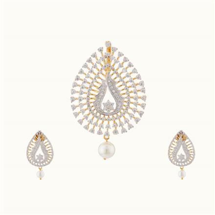 50739 CZ Classic Pendant Set with 2 tone plating