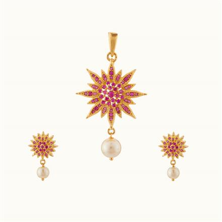 50740 CZ Delicate Pendant Set with gold plating