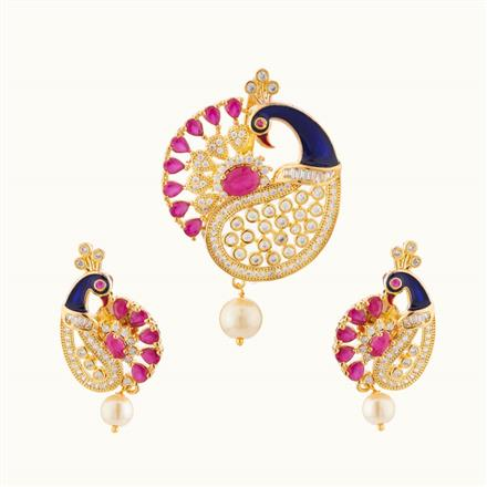 50741 CZ Peacock Pendant Set with gold plating
