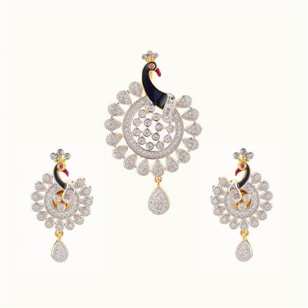 50742 CZ Peacock Pendant Set with 2 tone plating