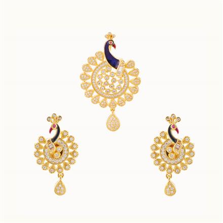 50743 CZ Peacock Pendant Set with gold plating