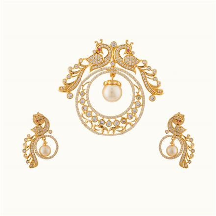 50744 CZ Peacock Pendant Set with gold plating