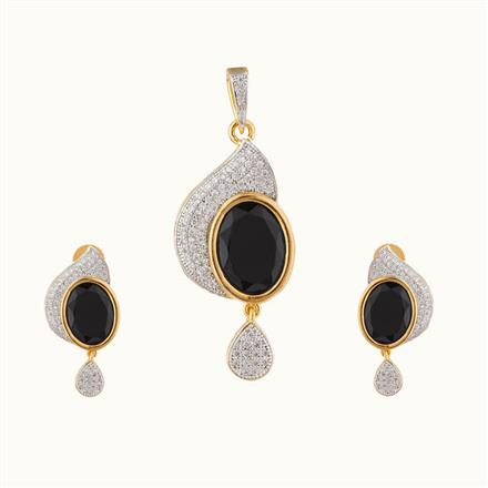 50748 CZ Classic Pendant Set with 2 tone plating