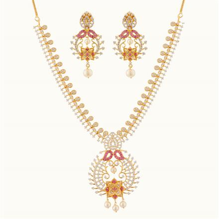 50749 CZ Classic Necklace with gold plating