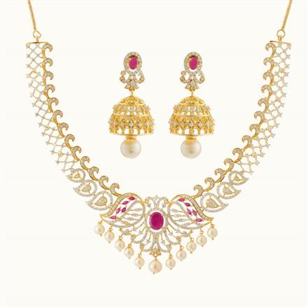 50751 CZ Classic Necklace with gold plating