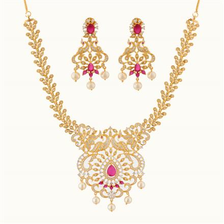 50752 CZ Peacock Necklace with gold plating