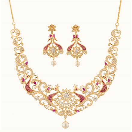 50753 CZ Peacock Necklace with gold plating