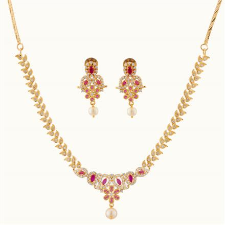 50756 CZ Delicate Necklace with gold plating