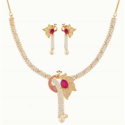 50757 CZ Peacock Necklace with gold plating