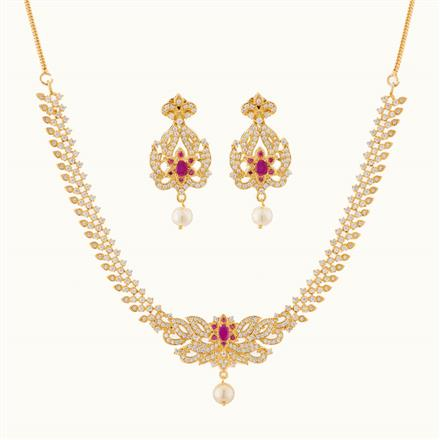 50758 CZ Delicate Necklace with gold plating