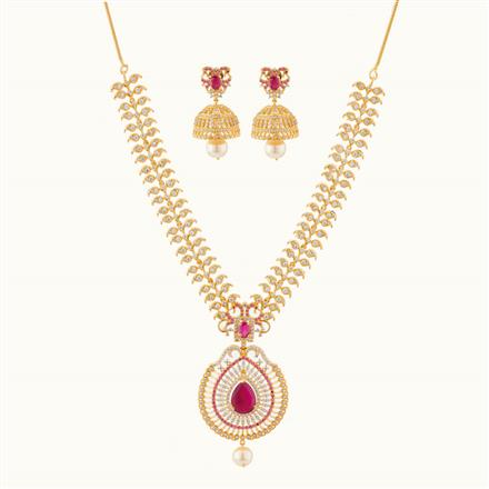 50760 CZ Peacock Necklace with gold plating