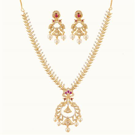 50761 CZ Peacock Necklace with gold plating