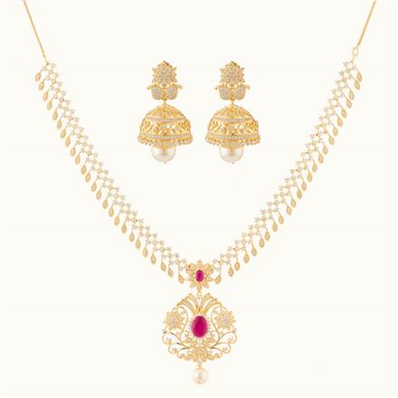 50762 CZ Classic Necklace with gold plating