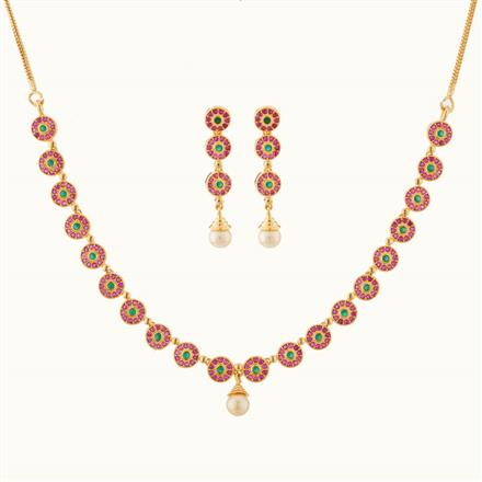 50763 CZ Delicate Necklace with gold plating