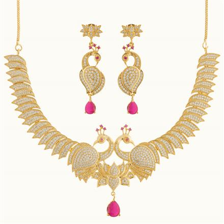 50764 CZ Peacock Necklace with gold plating
