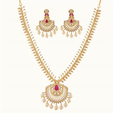 50765 CZ Peacock Necklace with gold plating