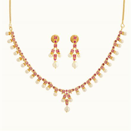 50766 CZ Delicate Necklace with gold plating