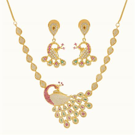 50767 CZ Peacock Necklace with gold plating