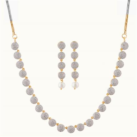 50769 CZ Delicate Necklace with gold plating