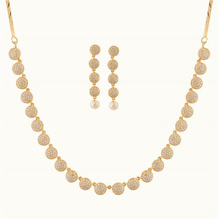 50770 CZ Delicate Necklace with 2 tone plating