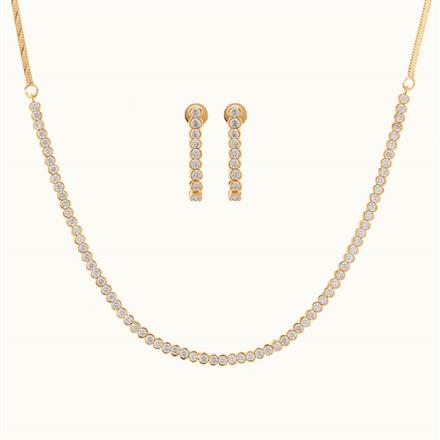 50771 CZ Delicate Necklace with gold plating