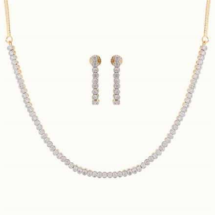 50773 CZ Delicate Necklace with gold plating