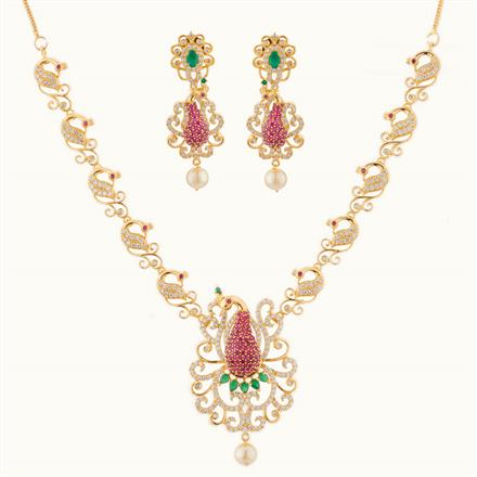 50774 CZ Peacock Necklace with gold plating