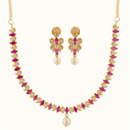 50775 CZ Delicate Necklace with gold plating