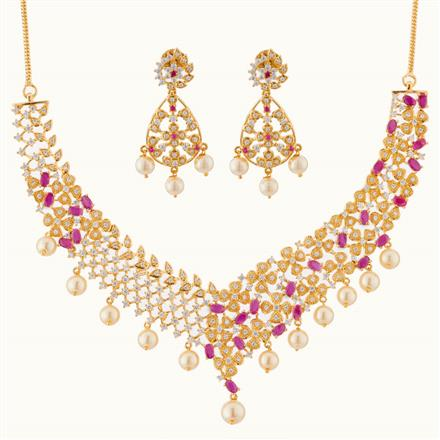 50776 CZ Classic Necklace with gold plating