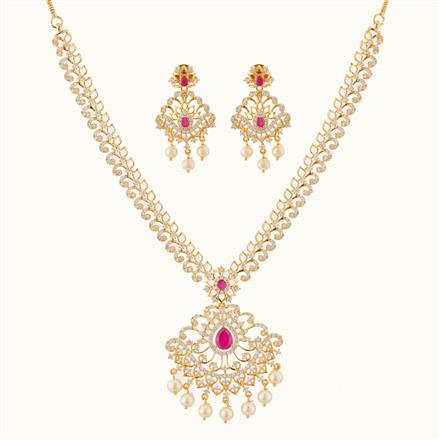 50778 CZ Classic Necklace with gold plating