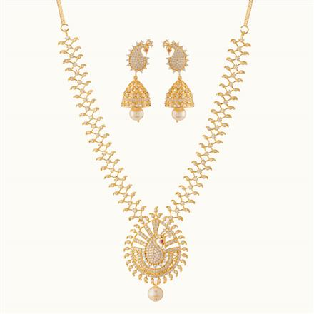 50782 CZ Peacock Necklace with gold plating