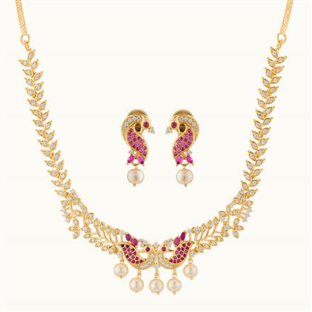 50783 CZ Peacock Necklace with gold plating